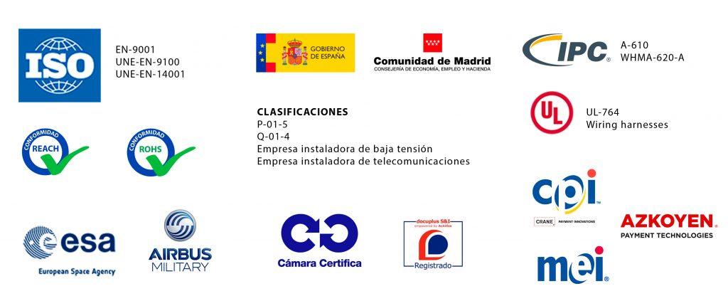 Certificaciones, homologaciones de Grupo Espacio Industrial
