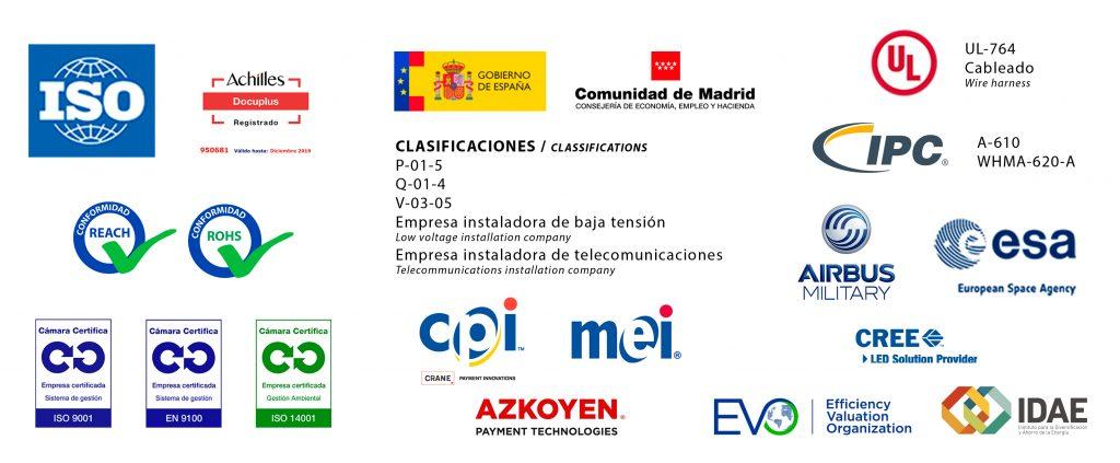 Certificaciones, clasificaciones y homologaciones de las empresas de Grupo Espacio Industrial