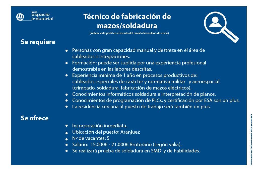 Oferta de empleo de Grupo Espacio Industrial